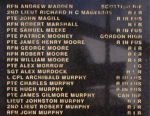 Inscription– Name of Private James Gilmore Murphy on Ballymoney, Co. Antrim, War Memorial. Photograph taken 13th April 2008.