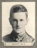 Photo of Howard Elliot Scott– From The War Book of Upper Canada College, edited by Archibald Hope Young, Toronto, 1923.  This book is a Roll of Honour including former students who served during the First World War.