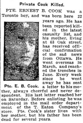 Photo of ERNEST BENJAMIN COOK– From the Toronto Star. Submitted for the project, Operation: Picture Me