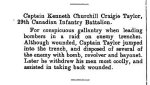 Newspaper Clipping– From the Supplement to the London Gazette for 15 March 1916, page 2876.
