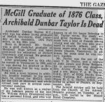 Newspaper clipping– Supplementary information about family background: Father's newspaper obituary, 1942