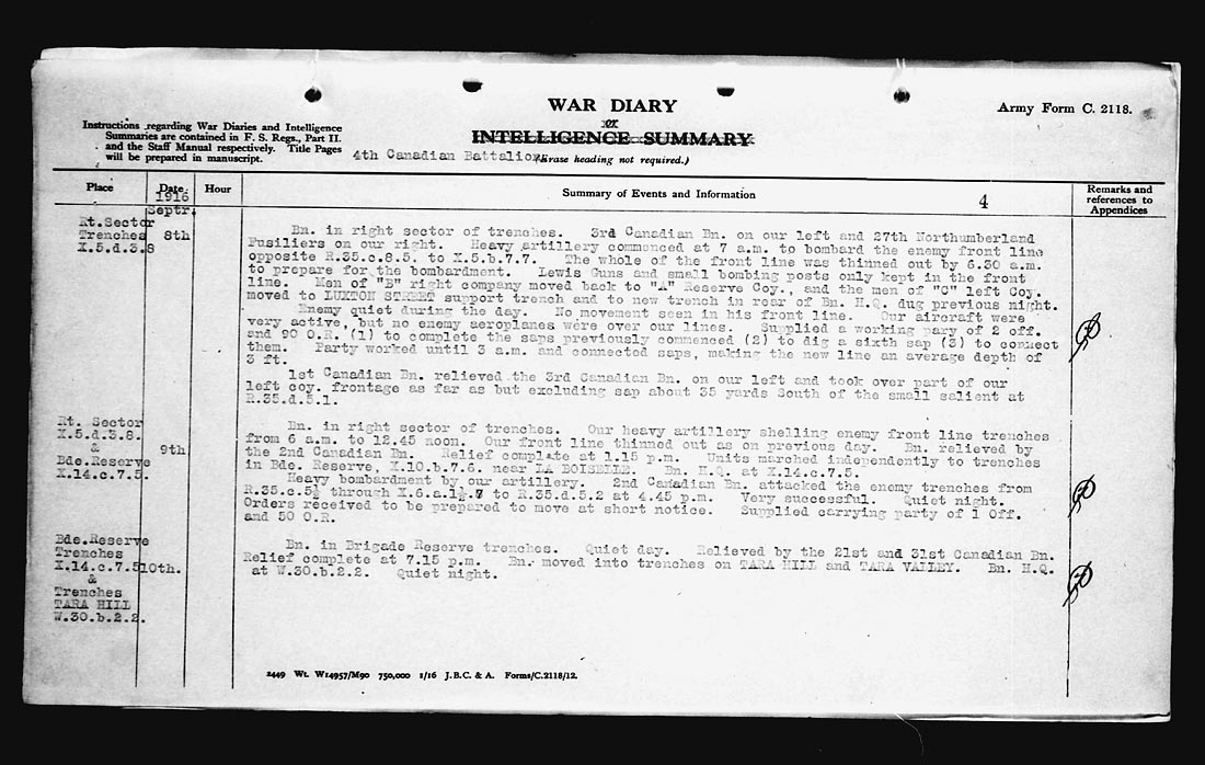 War Diary– War Diary Entry from day William Turley was killed.