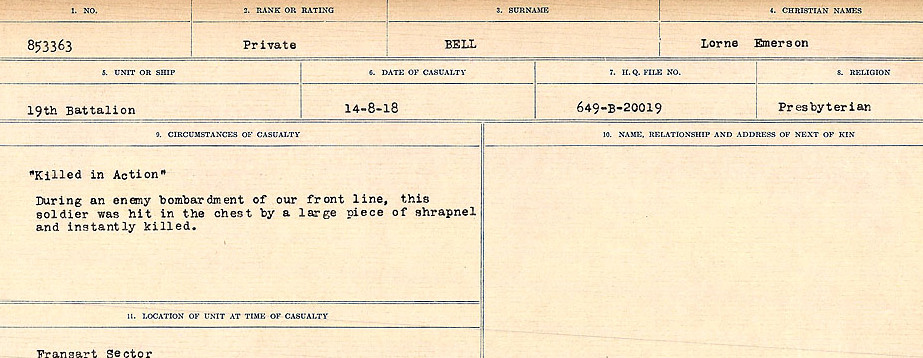 Circumstances of Death Registers– Source: Library and Archives Canada.  CIRCUMSTANCES OF DEATH REGISTERS FIRST WORLD WAR Surnames: Bernard to Binyan. Mircoform Sequence 8; Volume Number 31829_B016718; Reference RG150, 1992-93/314, 152 Page 151 of 670