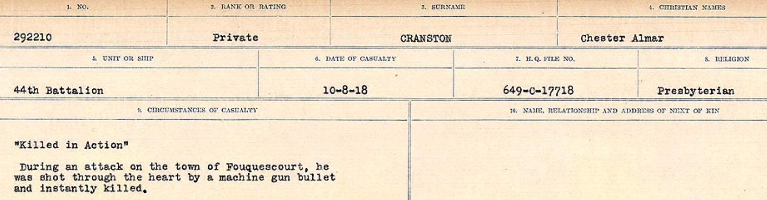 Circumstances of death registers– Source: Library and Archives Canada. CIRCUMSTANCES OF DEATH REGISTERS, FIRST WORLD WAR Surnames: CRABB TO CROSSLAND Microform Sequence 24; Volume Number 31829_B016733. Reference RG150, 1992-93/314, 168. Page 263 of 788.