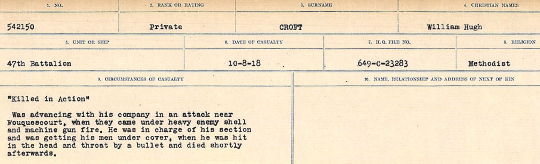 Circumstances of death registers– Source: Library and Archives Canada. CIRCUMSTANCES OF DEATH REGISTERS, FIRST WORLD WAR Surnames: CRABB TO CROSSLAND Microform Sequence 24; Volume Number 31829_B016733. Reference RG150, 1992-93/314, 168. Page 621 of 788.