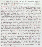 Biography– Biography of Major Alexander Grant, Senior Major, 101st Battalion, from the unit photo album, April 1916
