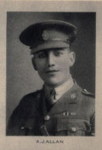 Photo of Robert James Allan– Photo from Memorial from the Great War 1914-1918: a record of service  published by the Bank of Montreal 1921; now found on http://www.archive.org/details/memorialofgreatw00bankuoft