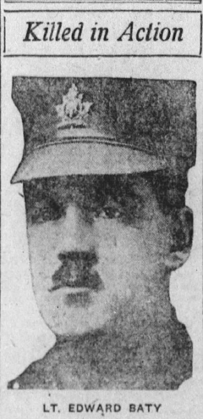 Newspaper clipping– Lt Edward Baty, Saskatoon Daily Star, August 28, 1918, page 03