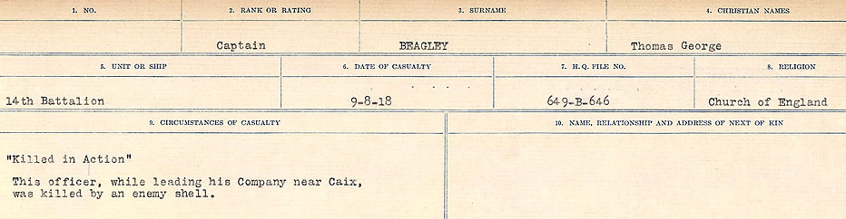 Circumstances of Death Registers– Source: Library and Archives Canada.  CIRCUMSTANCES OF DEATH REGISTERS FIRST WORLD WAR Surnames:  Bea to Belisle  Mircoform Sequence 7; Volume Number 31829_B016717. Reference RG150, 1992-93/314, 151.  Page 35 of 724.