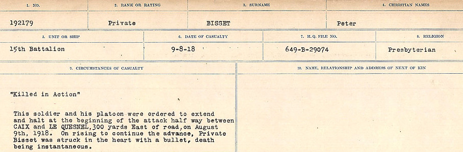 Circumstances of Death Registers– Source: Library and Archives Canada.  CIRCUMSTANCES OF DEATH REGISTERS FIRST WORLD WAR Surnames: Birch to Blakstad. Mircoform Sequence 10; Volume Number 31829_B034746; Reference RG150, 1992-93/314, 154 Page 251 of 734