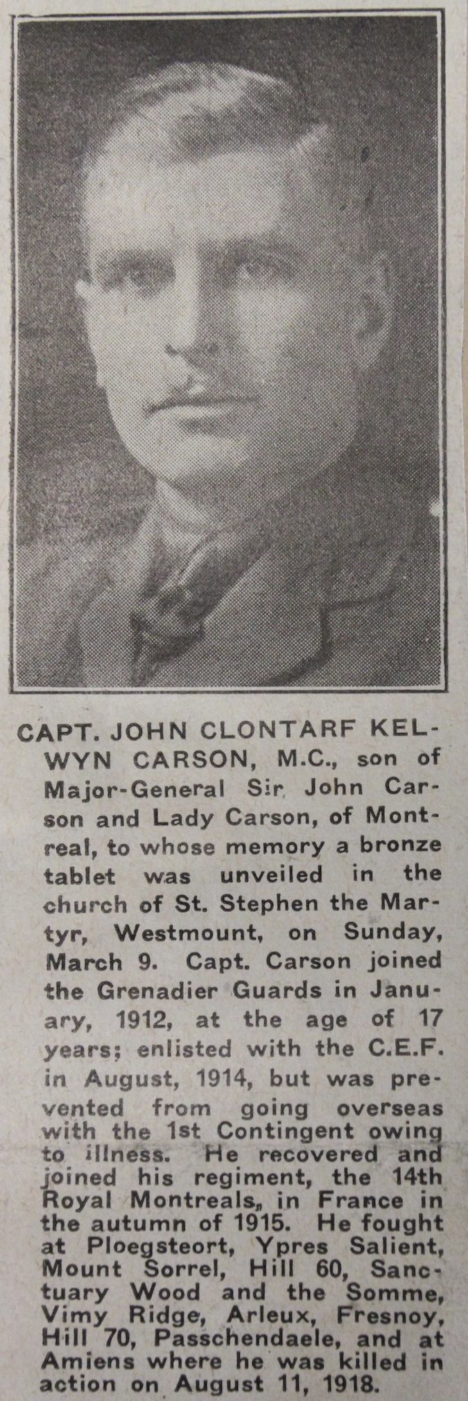 Photo of JOHN CLONTARF KELVYN CARSON