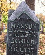 Inscription– Inscriptions to the memory of Donald Howe Masson and Robert Geoffrey Masson on the family grave marker in Beechwood Cemetery, Ottawa, Ontario.  Donald was killed on April 20, 1917 and is buried at DUNKIRK TOWN CEMETERY in France and Robert was killed on May 24, 1917 and is buried at PONT-DU-HEM MILITARY CEMETERY in France.