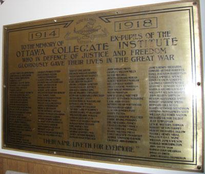 Memorial Plaque– Lisgar Collegiate Institute  roll