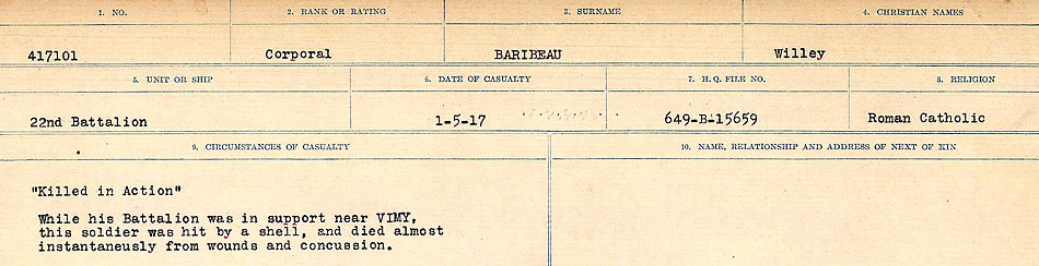 Circumstances of death registers– Source: Library and Archives Canada.  CIRCUMSTANCES OF DEATH REGISTERS, FIRST WORLD WAR Surnames:  Babb to Barjarow. Microform Sequence 5; Volume Number 31829_B016715. Reference RG150, 1992-93/314, 149.  Page 1059 of 1072