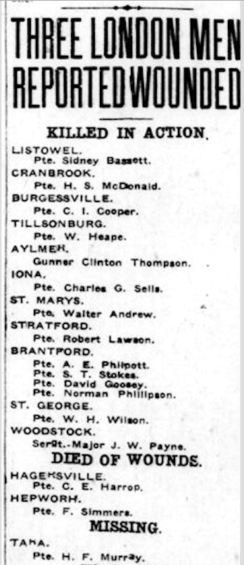 Newspaper clipping– From the London Free Press May 1917. Submitted for the project Operation Picture Me