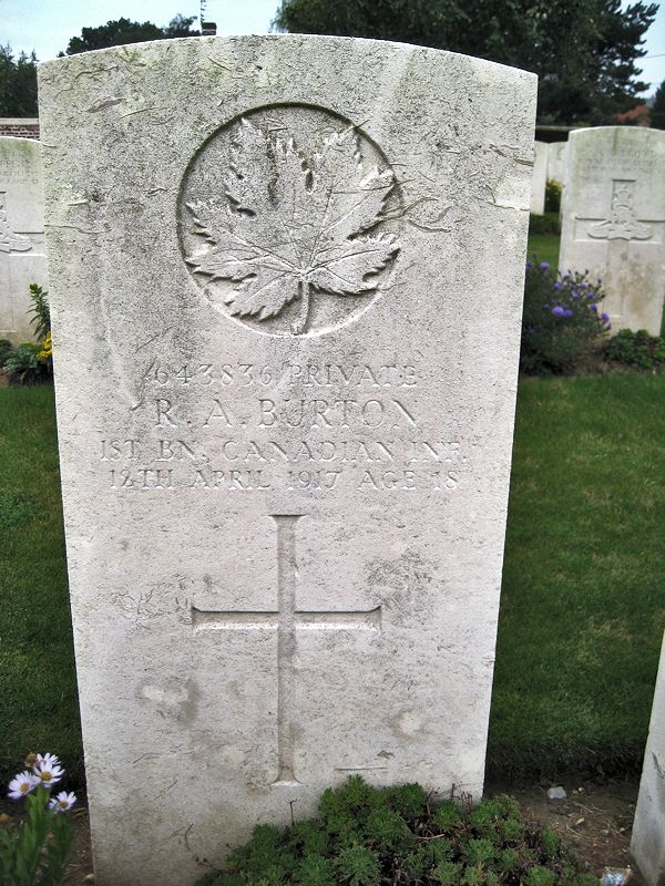 Grave Marker– The grave marker at the Bois Carre British Cemetery located on Vimy Ridge at the eastern edge of the town of Thelus, France. The cemetery is about 6 kilometres from Canada's Vimy Memorial. May he rest in peace. (John & Anne Stephens 2013)
