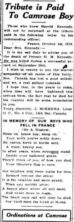 Newspaper article– THE CAMROSE CANADIAN 19 OCTOBER 1916
