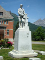 Memorial– War Memorial, Fernie and District, British Columbia.  Dedicated by Lord Byng on  May 24th, 1922.   Inscribed:  ERECTED TO PERPETUATE OUR HONOURED DEAD AND THOSE WHO CARRIED ON IN THE GREAT WAR FROM FERNIE B.C. AND DISTRICT.
