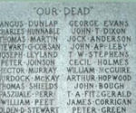 Inscription– Detail of statue and names listed on the War Memorial for Fernie and District, British Columbia.