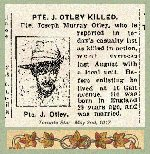 Newspaper Clipping– Pte. James Murray Otley's name was misprinted in this newspaper report.