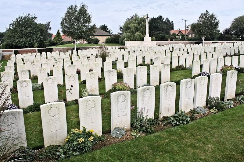 Cemetery– The Bois Carre British Cemetery located on Vimy Ridge at the eastern edge of the town of Thelus, France. The cemetery is about 6 kilometres from Canada's Vimy Memorial.(John & Anne Stephens 2013)