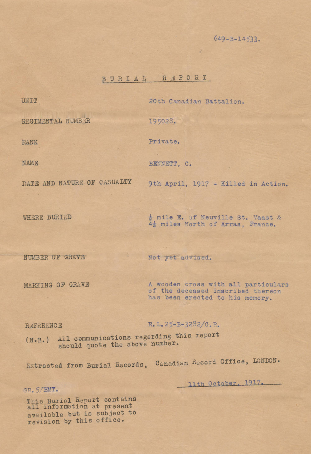 Burial Report– donated to the BHCARA by Wilda Hay
