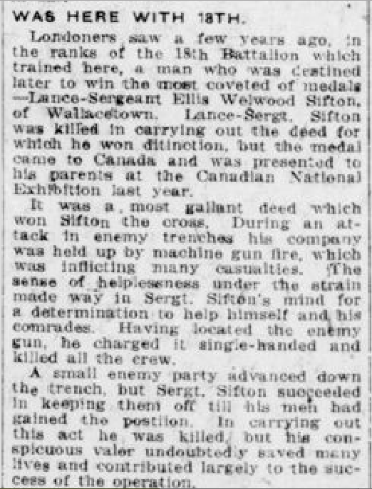 Newspaper clipping– From the London Free Press January 1919. Submitted for the project Operation Picture Me
