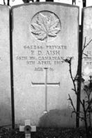 """Grave Marker– F D Aish Died during the first day of the Battle of Vimy Ridge. He was enlisted less than three months. The CanadianGreatWarProject website lists Master Aish as 19. His headstone puts him at a mere 16. He was adopted and was 5'4"""". Never voted, likely never kissed a girl. On April 9, 1917 at 5:30 AM the whistle blew, Frank Aish went """"over the top"""" into the teeth of a driving sleet storm.    It all my time spent photographing Canda's history in the Great War along the Western Front young Aish's burial site affected me as no other. To quote Rev Geoffrey Mann """"a legacy of how easy it is to destroy what we have grown"""".  May God have mercy on his soul."""
