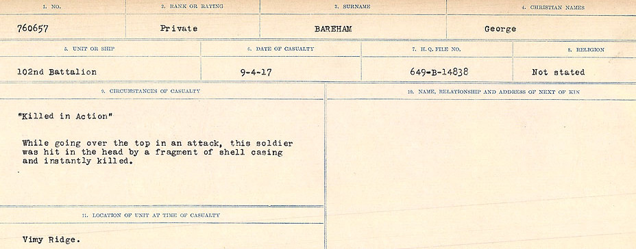 Circumstances of Death Registers– Source: Library and Archives Canada.  CIRCUMSTANCES OF DEATH REGISTERS, FIRST WORLD WAR Surnames:  Babb to Barjarow. Microform Sequence 5; Volume Number 31829_B016715. Reference RG150, 1992-93/314, 149.  Page 1045 of 1072
