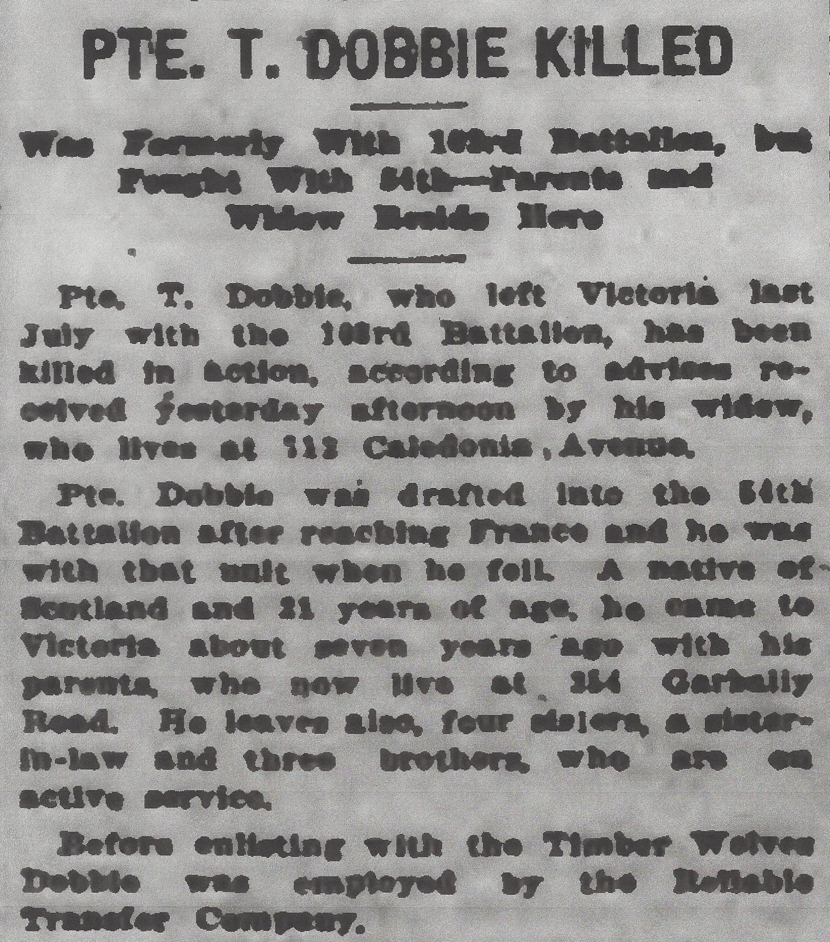 Newspaper clipping– From the Daily Colonist of April 29, 1917. Image taken from web address of http://archive.org/stream/dailycolonist59y121uvic#page/n0/mode/1up