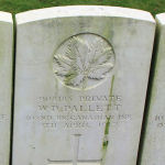 Grave Marker– The grave marker at the Givenchy Road Canadian Cemetery located on the grounds of the Vimy Memorial Park on Vimy Ridge, just outside of Neuville-St Vaast, France. May he rest in peace. (J. Stephens)