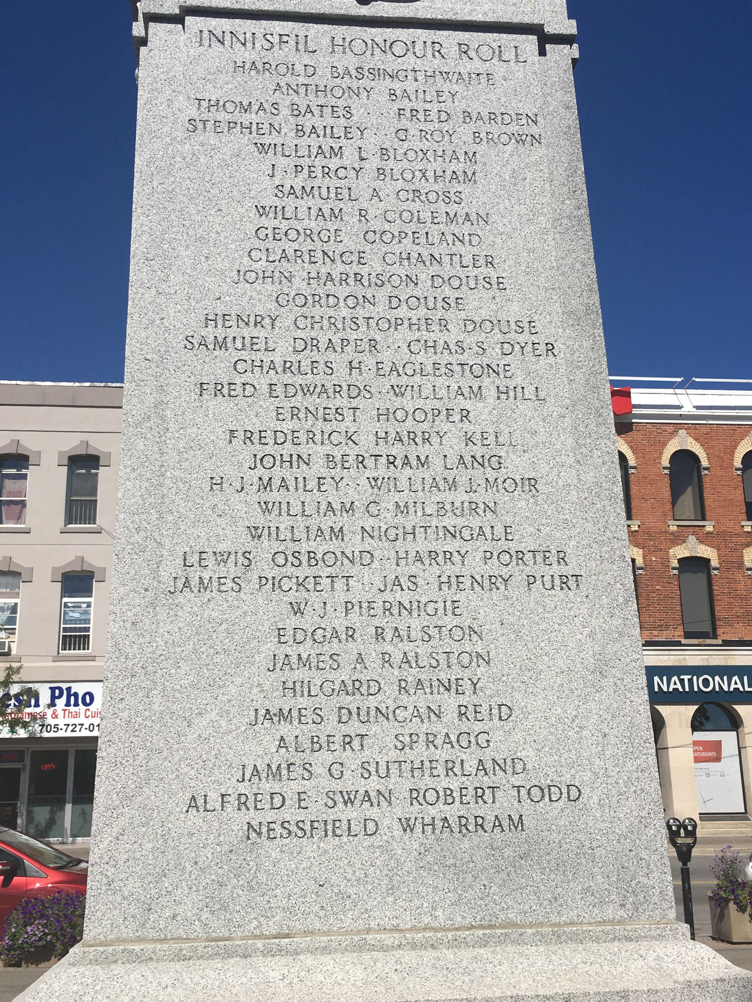 War Memorial– Barrie, Ontario Cenetaph Innisfil Memorial