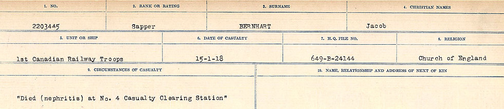 Circumstances of Death Registers– Source: Library and Archives Canada.  CIRCUMSTANCES OF DEATH REGISTERS FIRST WORLD WAR Surnames: Bernard to Binyon. Mircoform Sequence 9; Volume Number 31829_B016719; Reference RG150, 1992-93/314, 153 Page 35 of 652