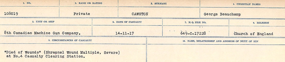 Newspaper Clipping– Source: Library and Archives Canada.  CIRCUMSTANCES OF DEATH REGISTERS, FIRST WORLD WAR Surnames:  CATCHPOLE TO CHIGNELL. Microform Sequence 19; Volume Number 31829_B016728. Reference RG150, 1992-93/314, 163. Page 143 of 958.