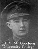 Photo of Stewart Goodeve– From: The Varsity Magazine Supplement published by The Students Administrative Council, University of Toronto 1916.  