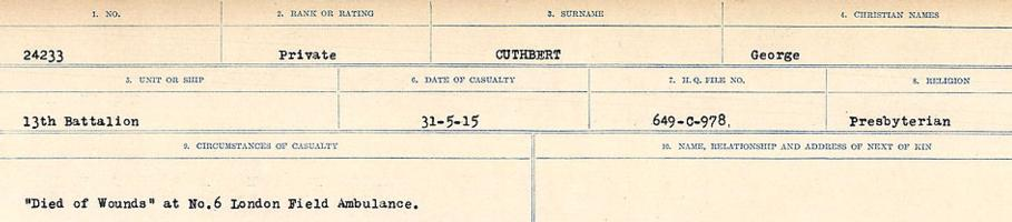 Circumstances of death registers– Source: Library and Archives Canada. CIRCUMSTANCES OF DEATH REGISTERS, FIRST WORLD WAR Surnames: Crossley to Cyrs. Microform Sequence 25; Volume Number 31829_B016734. Reference RG150, 1992-93/314, 169. Page 809 of 890.