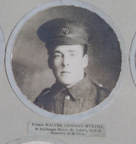 Photo of WALTER LEONARD MURPHY– In memory of the men and women from Newfoundland who went away to war and did not come home. From the  Rooms Archives and Museum St Johns Newfoundland. Submitted for the project, Operation Picture Me