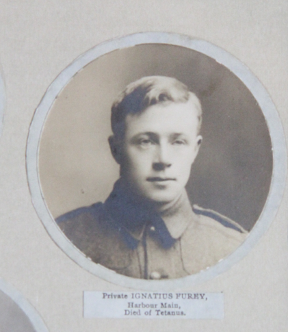 Photo of IGNATIUS FUREY– In memory of the men and women from Newfoundland who went away to war and did not come home. From the  Rooms Archives and Museum St Johns Newfoundland. Submitted for the project, Operation Picture Me