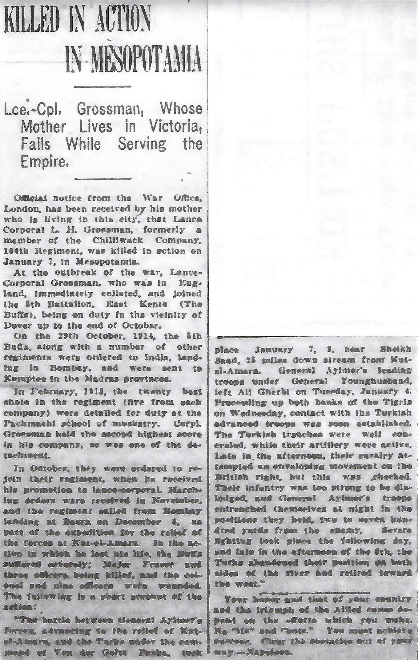 Newspaper clipping– From the Daily Colonist of March 19, 1916. Image taken from web address of https://archive.org/stream/dailycolonist58y85uvic#mode/1up