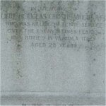 Memorial– This memorial is dedicated to Lt. Douglas Christie Wright.  Located in Mount Pleasant Cemetery, Toronto.