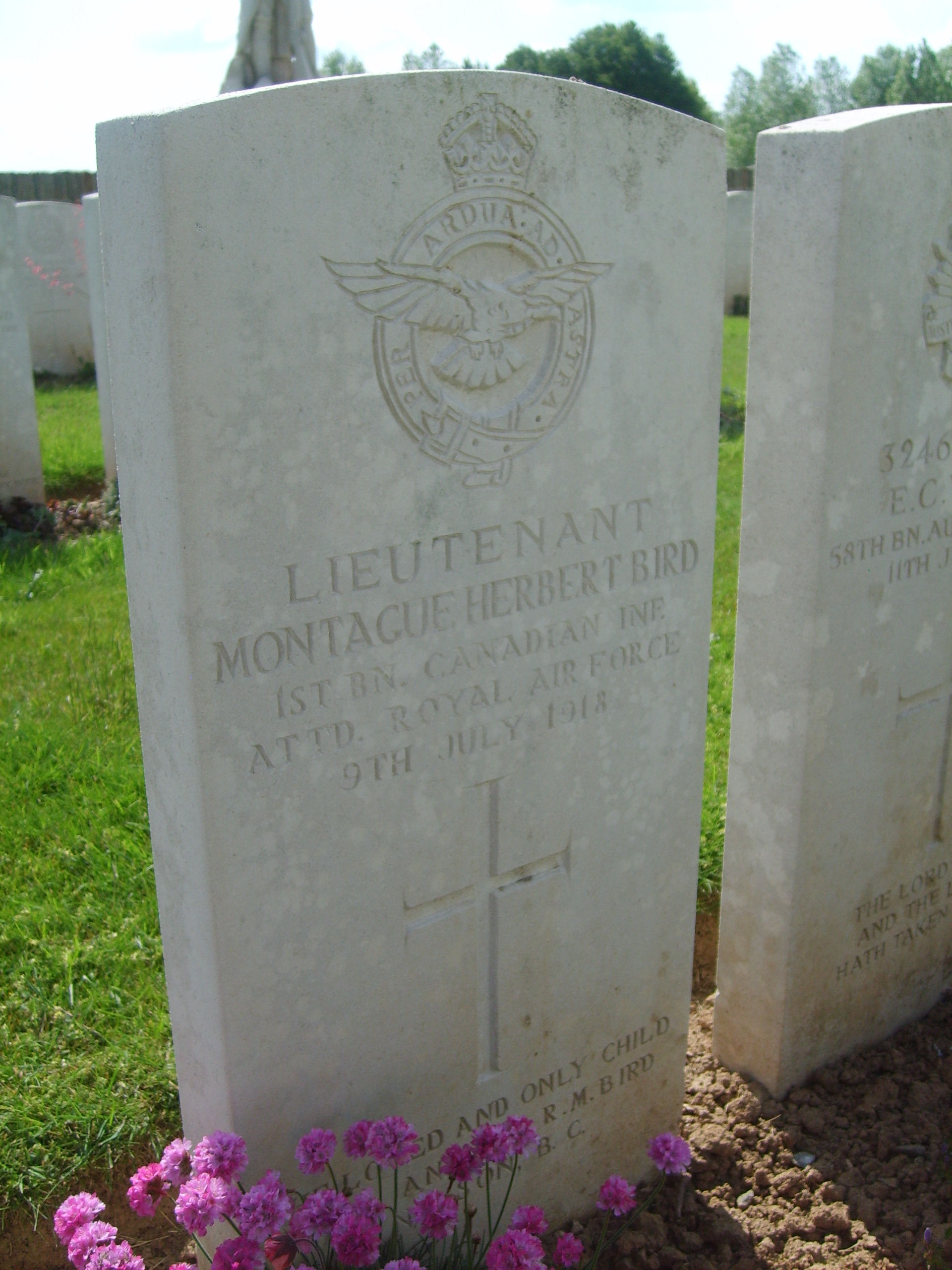 Grave Marker– Photo of the grave. MONTAGU HERBERT BIRD buried in the British cemetery of Vignacourt