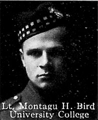 Photo of Montagu Bird– From: The Varsity Magazine Supplement published by The Students Administrative Council, University of Toronto 1916.  