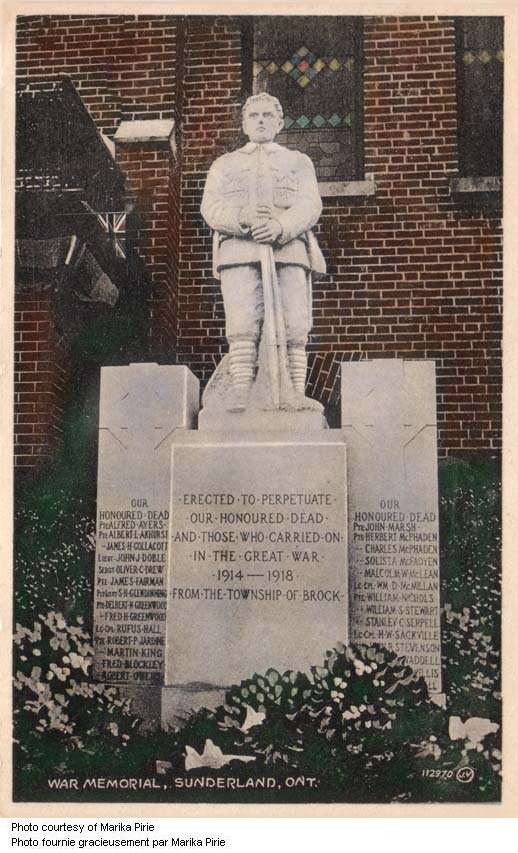 Sunderland Ontario War Memorial.