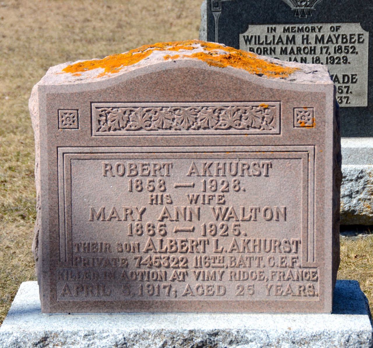 Memorial– Pvt. Albert Luther Akhurst is remembered on his parents headstone in Cedar Vale Cemetery, Cannington, Brock Twp.