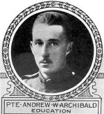 Photo of Andrew Archibald– From: The Varsity Magazine Supplement published by The Students Administrative Council, University of Toronto 1918.   Submitted for the Soldiers' Tower Committee, University of Toronto, by Operation Picture Me.