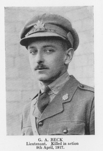 Photo of GUY ARMSTRONG BECK– From Vol 1 of Letters From The Front By The Canadian Bank Of Commerce.