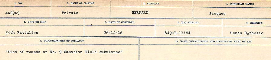 Circumstances of Death Registers– Source: Library and Archives Canada.  CIRCUMSTANCES OF DEATH REGISTERS FIRST WORLD WAR Surnames: Bernard to Binyan. Mircoform Sequence 9; Volume Number 31829_B016719; Reference RG150, 1992-93/314, 153 Page 13 of 652
