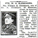 Newspaper Clipping– Pte. Garnet Blenkhorn is mentioned in this  article about his brother.