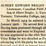 """Obituary– From the """"University of Toronto / Roll of Service 1914-1918"""", published in 1921."""
