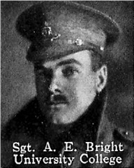 Photo of Albert Bright– From: The Varsity Magazine Supplement published by The Students Administrative Council, University of Toronto 1916.   Submitted for the Soldiers' Tower Committee, University of Toronto, by Operation Picture Me.